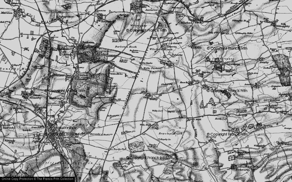 Old Map of Historic Map covering Abney Wood in 1895