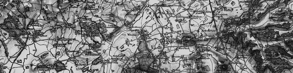 Old map of Weobley in 1898