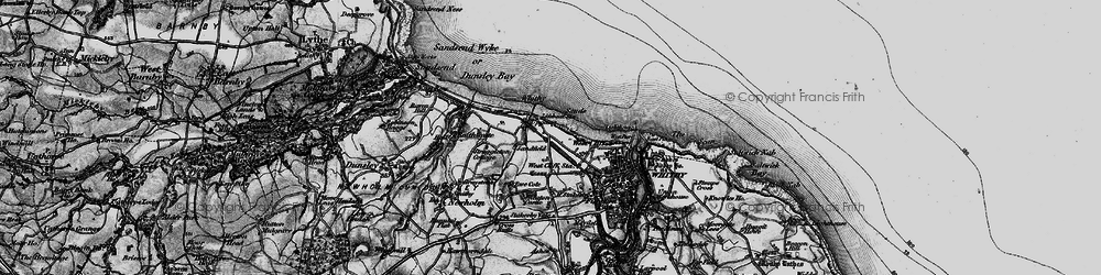 Old map of Whitby Sands in 1898