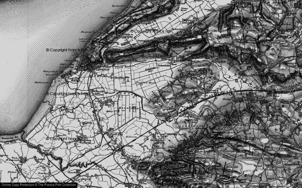 Old Map of Historic Map covering Tickenham Moor in 1898
