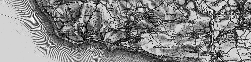 Old map of Afon Col'-huw in 1897