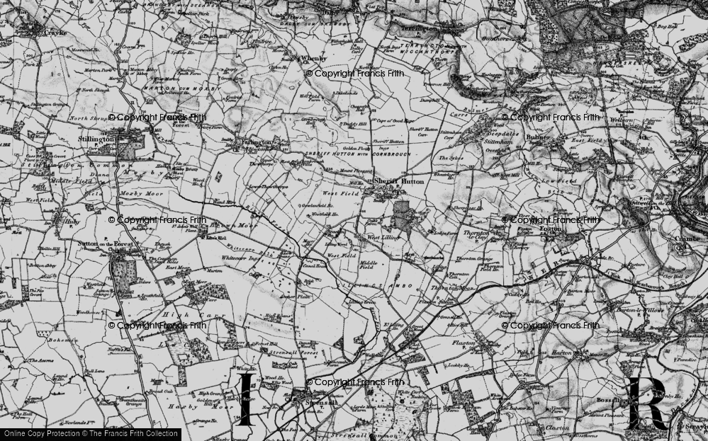 Old Map of Historic Map covering Lilling Wood in 1898