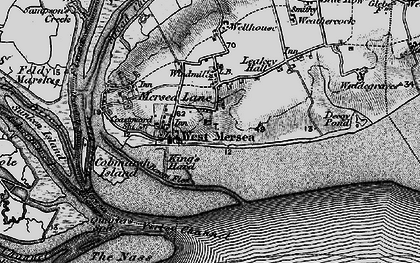 Old map of West Mersea in 1895
