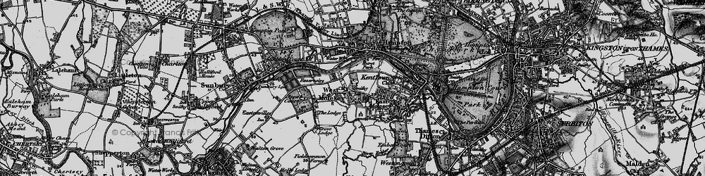 Old map of West Molesey in 1896