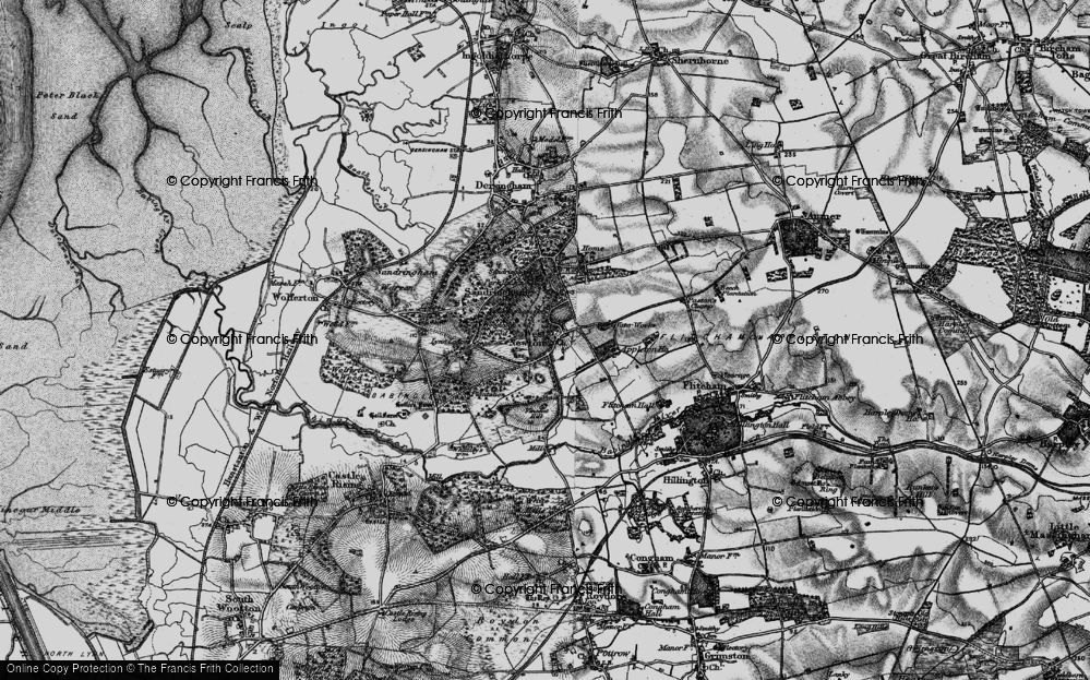 Old Map of Historic Map covering Woodcock Wood in 1893