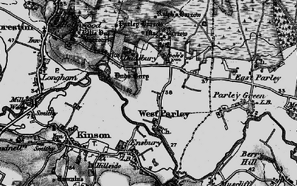 Old map of West Parley in 1895