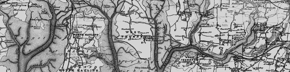 Old map of West Thorney in 1895