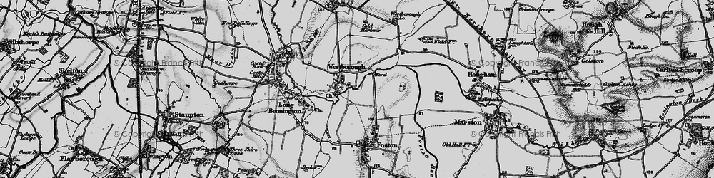 Old map of Westborough in 1899