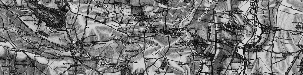 Old map of Westcott Barton in 1896