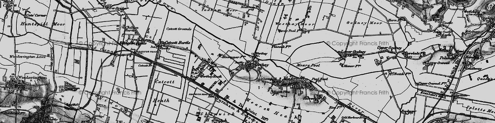 Old map of Westhay Level in 1898