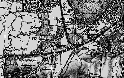 Old map of Weston Green in 1896