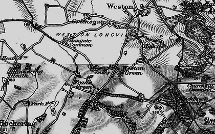 Old map of Weston Green in 1898