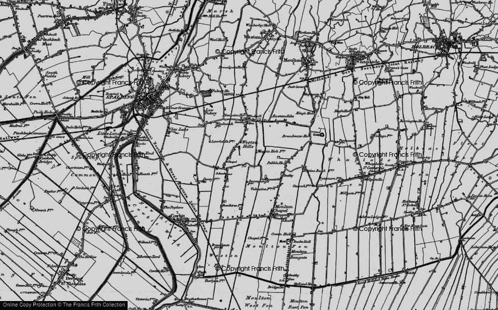 Old Map of Weston Hills, 1898 in 1898
