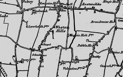Old map of Weston Hills in 1898