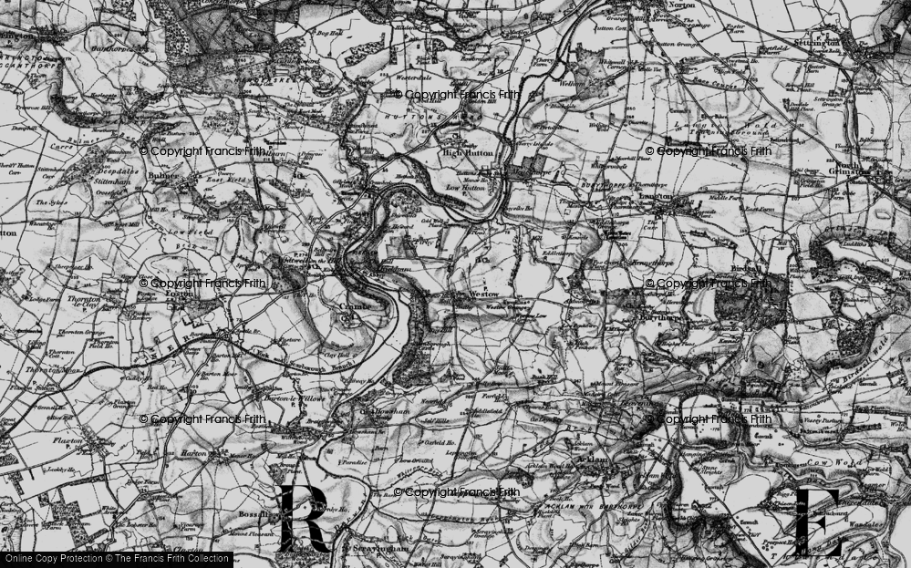 Old Map of Historic Map covering Westow Low Grange in 1898