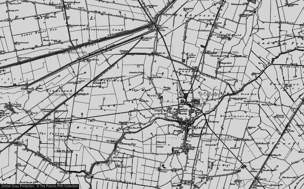Old Map of Historic Map covering White Moor in 1898