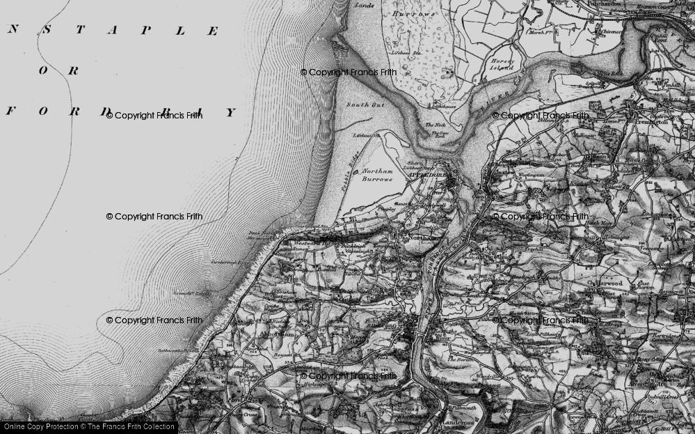 Old Map of Westward Ho!, 1895 in 1895