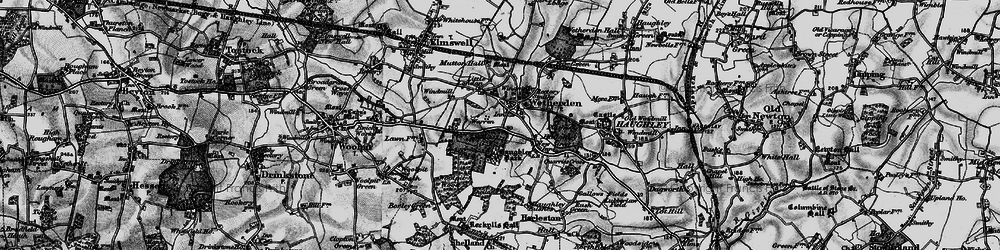 Old map of Wetherden in 1898
