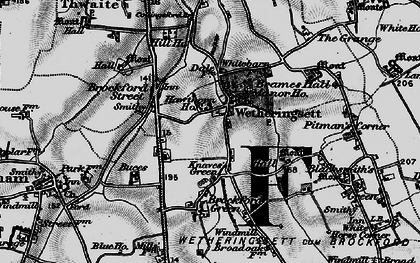Old map of Wetheringsett in 1898