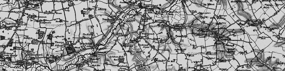 Old map of Weybread in 1898
