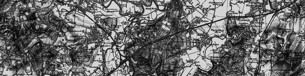 Old map of Weybridge in 1896