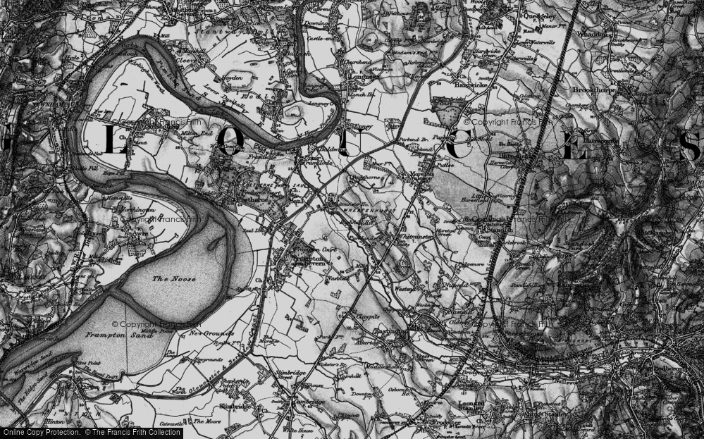 Old Map of Historic Map covering Whitminster Ho in 1896