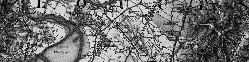 Old map of Whitminster Ho in 1896