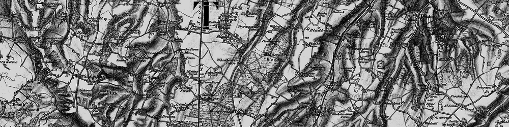 Old map of Wheelbarrow Town in 1895