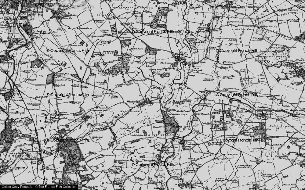 Old Map of Historic Map covering Wheldrake Grange in 1898