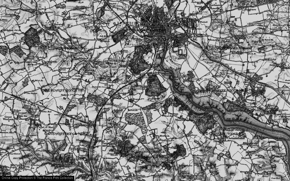 Old Map of Historic Map covering Wherstead Park in 1896