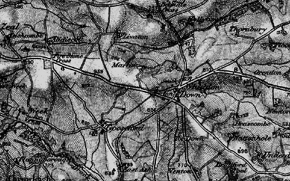 Old map of Whiddon Down in 1898