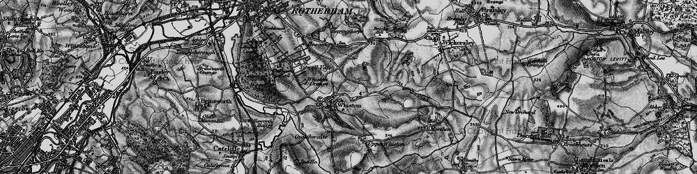 Old map of Whiston in 1896