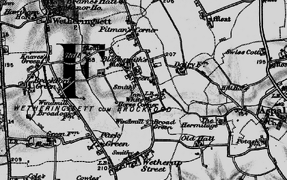 Old map of White Horse Corner in 1898