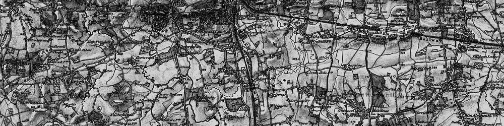 Old map of Whitebushes in 1896