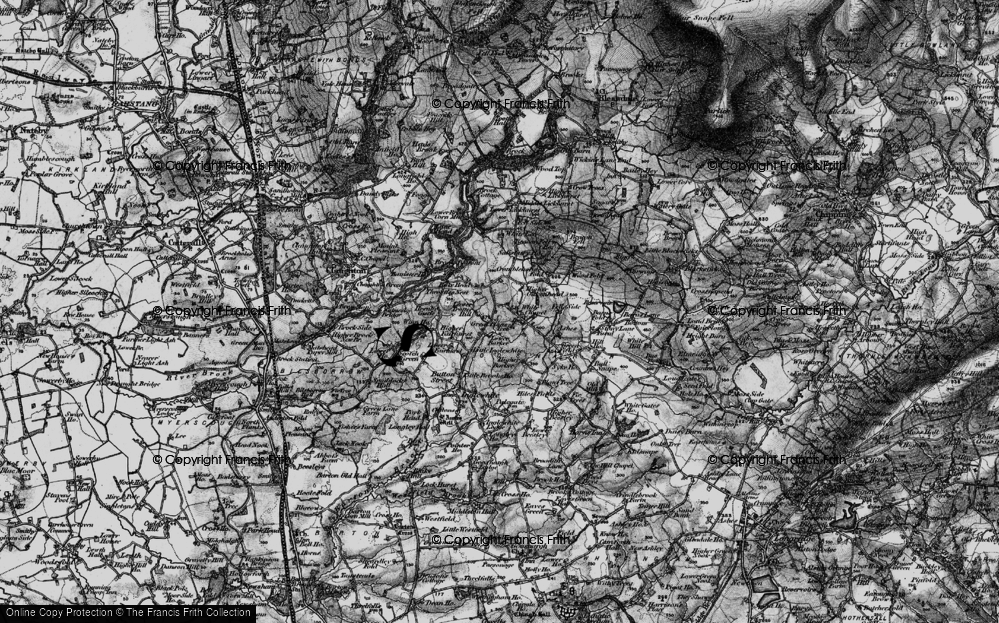 Old Map of Historic Map covering White Moss Gate in 1896