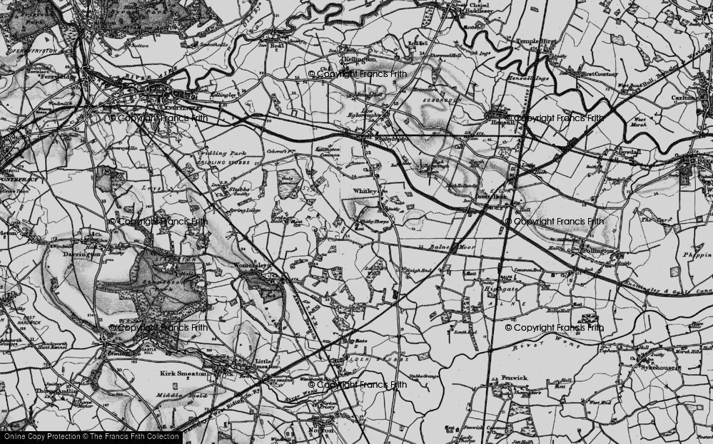 Old Map of Historic Map covering Balne Moor Cross Roads in 1895