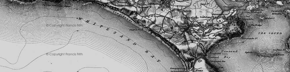Old map of Whitsand Bay in 1896