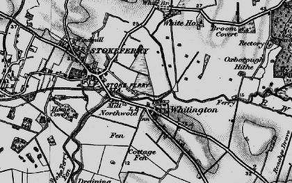 Old map of Whittington in 1898