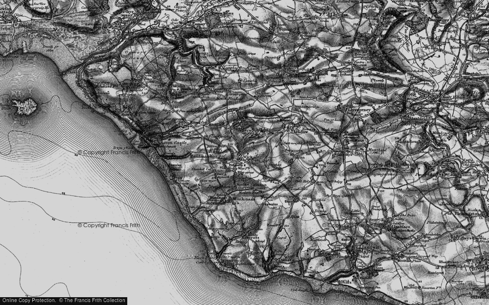 Old Map of Historic Map covering Clemenstone in 1897