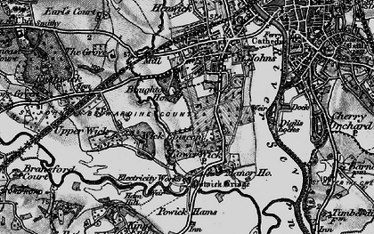 Old map of Wick Episcopi in 1898