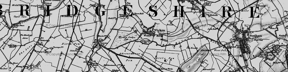 Old map of Wicken Lode in 1898