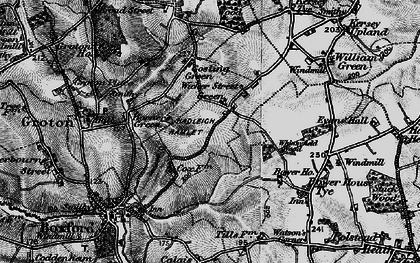 Old map of Wicker Street Green in 1896