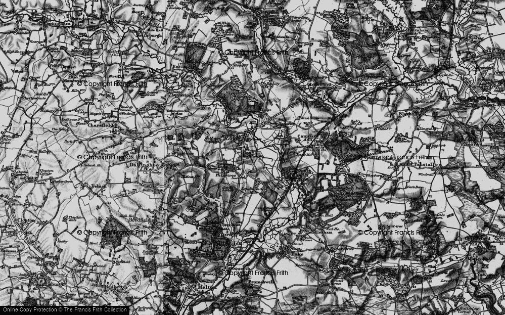 Old Map of Wickham Market, 1898 in 1898