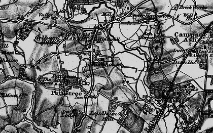 Old map of Wickham Market in 1898