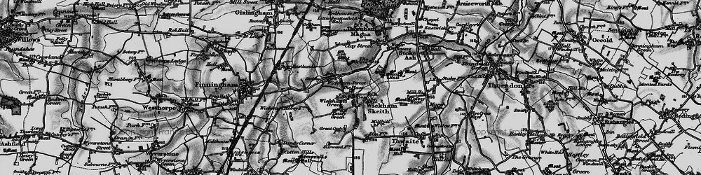 Old map of Wickham Skeith in 1898