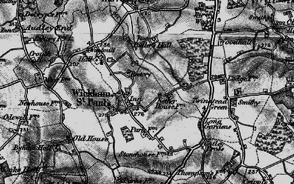 Old map of Wickham St Paul in 1895
