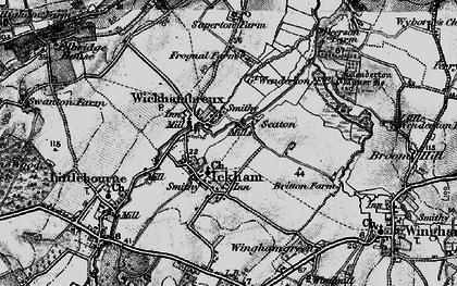 Old map of Wickhambreaux in 1895