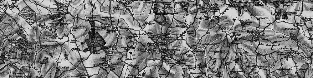 Old map of Wickhambrook in 1898