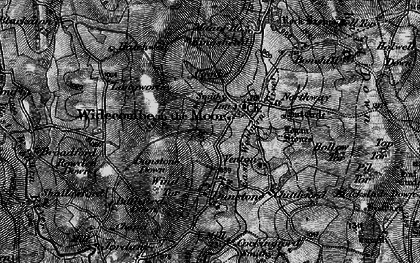 Old map of Widecombe in the Moor in 1898