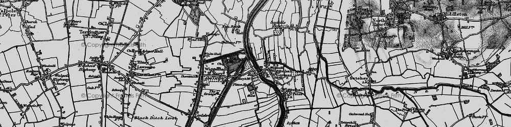 Old map of Wiggenhall St Germans in 1893